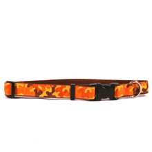 Orange Camo on Brown Grosgrain Ribbon Collar