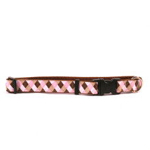 Pink Brown Argyle on Brown Grosgrain Ribbon Collar