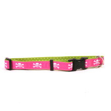 Pink Skulls on Green Polka Grosgrain Ribbon Collar