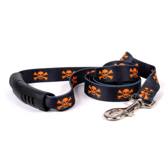 Orange and Black Skulls EZ-Grip Dog Leash