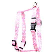 "Pink Lace Flowers Roman Style ""H"" Dog Harness"