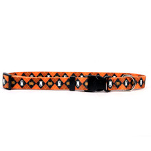 Orange Argyle Halloween Dog Collar