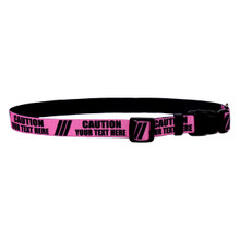 Personalized Caution PINK Dog Collar