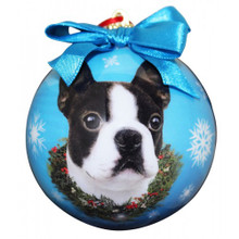 Boston Terrier Glossy Round Christmas Ornament **CLEARANCE**