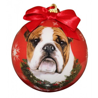 Bulldog Glossy Round Christmas Ornament **CLEARANCE**