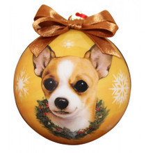 Chihuahua Tan Glossy Round Christmas Ornament **CLEARANCE**