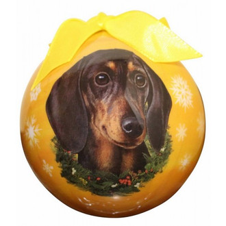 Dachshund Black Glossy Round Christmas Ornament **CLEARANCE**