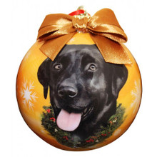 Black Lab Glossy Round Christmas Ornament **CLEARANCE**