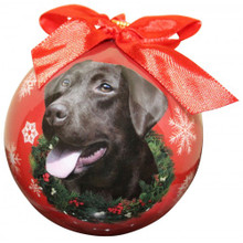 Chocolate Lab Glossy Round Christmas Ornament **CLEARANCE**