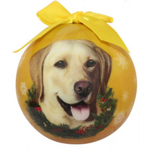 Yellow Lab Glossy Round Christmas Ornament **CLEARANCE**