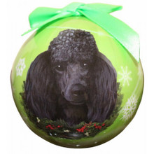Poodle Black Glossy Round Christmas Ornament **CLEARANCE**