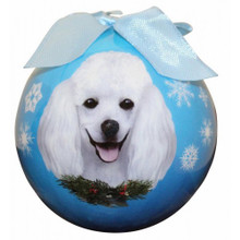 Poodle White Glossy Round Christmas Ornament **CLEARANCE**