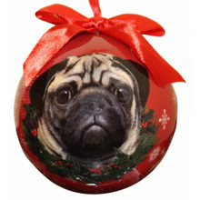 Pug Glossy Round Christmas Ornament **CLEARANCE**