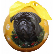 Black Pug Glossy Round Christmas Ornament **CLEARANCE**