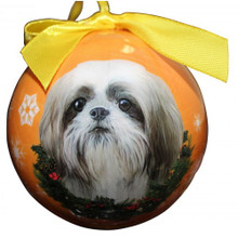 Shih Tzu Tan Glossy Round Christmas Ornament **CLEARANCE**