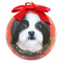 Shih Tzu Black and White Puppy Glossy Round Christmas Ornament **CLEARANCE**