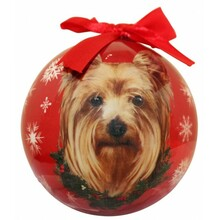 Yorkie Glossy Round Christmas Ornament **CLEARANCE**