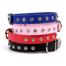 Leather Dog Collar with Inset Crystals