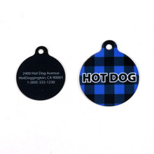 Buffalo Plaid Blue HD Pet ID Tag