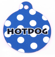 Navy Blue Polka Dot HD Pet ID Tag
