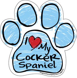I Love My Cocker Spaniel BLUE Scribble Paw Magnet