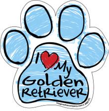 I Love My Golden Retriever BLUE Scribble Paw Magnet