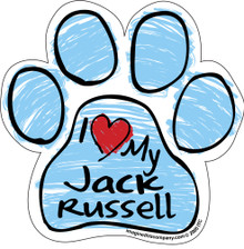 I Love My Jack Russell BLUE Scribble Paw Magnet