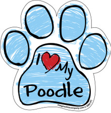 I Love My Poodle BLUE Scribble Paw Magnet