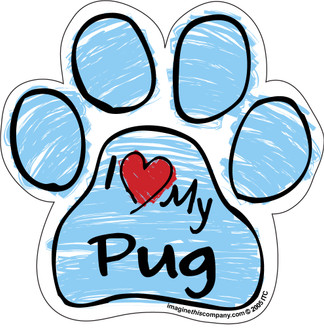 I Love My Pug BLUE Scribble Paw Magnet
