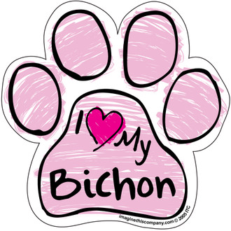I Love My Bichon PINK Scribble Paw Magnet
