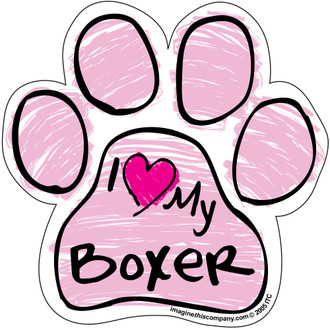 I Love My Boxer PINK Scribble Paw Magnet