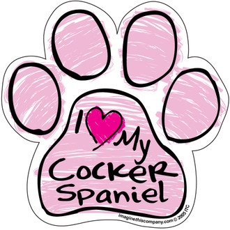 I Love My Cocker Spaniel PINK Scribble Paw Magnet