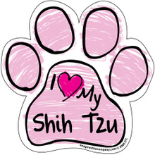I Love My Shih Tzu PINK Scribble Paw Magnet