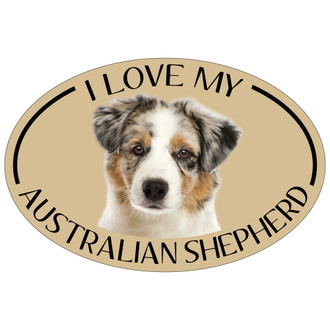 I Love My Aussie Colorful Oval Magnet