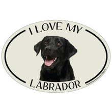 I Love My Black Lab Colorful Oval Magnet