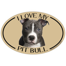 I Love My Pit Bull Colorful Oval Magnet