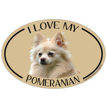 I Love My Pomeranian Colorful Oval Magnet
