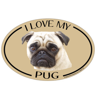 I Love My Pug Colorful Oval Magnet