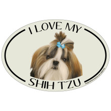 I Love My Shih Tzu Colorful Oval Magnet