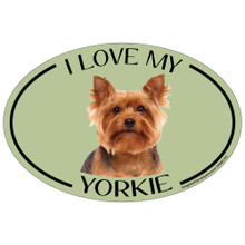 I Love My Yorkie Colorful Oval Magnet
