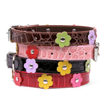 Faux Leather Dog Collar with Flowers