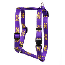 "Purple and Gold Skulls Roman Style ""H"" Dog Harness"
