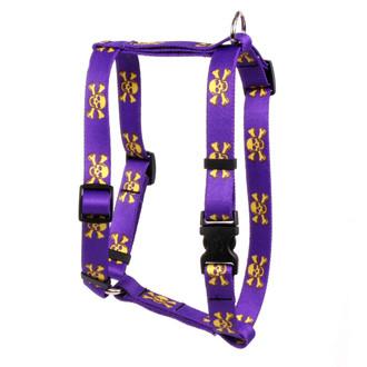"Purple and Gold Skulls Roman Style ""H"" Dog Harness"