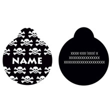 Black Skulls HD Pet ID Tag