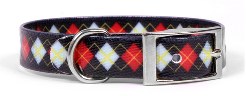 Red Argyle Elements Dog Collar