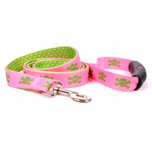 Pink and Green Skulls Uptown Dog Leash