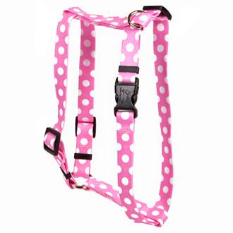 """Watermelon Polka Dot Roman Style """"H"""" Dog Harness"""