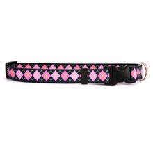 Pink Argyle Break Away Cat Collar