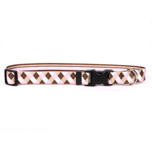 Pink and Brown Argyle Break Away Cat Collar