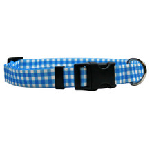 Gingham Blue Break Away Cat Collar